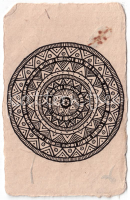 ACEO 'Aztec' Ink on Korean Hanji handmade paper 9x6cm