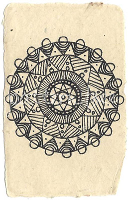 ACEO 'Circle no.1′ Ink on Korean Hanji handmade paper 9x6cm