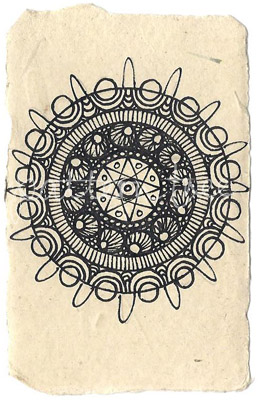 ACEO 'Circle no.2' Ink on Korean Hanji handmade paper 9x6cm