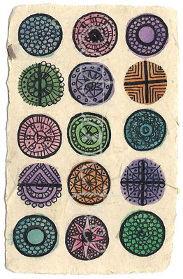 ACEO 'Circles' Ink and watercolour on Korean Hanji handmade paper 9x6cm