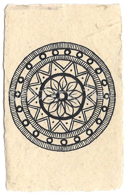 ACEO 'Crown' Ink on Korean Hanji handmade paper 9x6cm