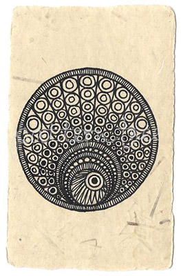 ACEO 'Molusc' Ink on Korean Hanji handmade paper 9x6cm