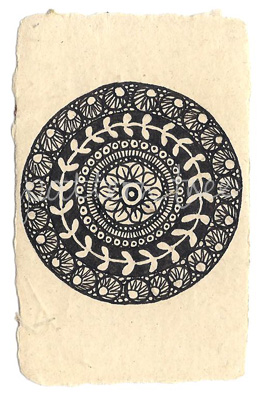 ACEO 'Organic' Ink on Korean Hanji handmade paper 9x6cm