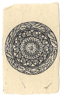 ACEO 'Organic no.2′ Ink on Korean Hanji handmade paper 9x6cm
