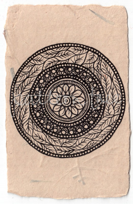 ACEO 'Organic no.3′ Ink on Korean Hanji handmade paper 9x6cm