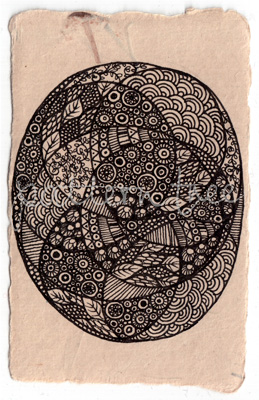 ACEO 'Random egg' Ink on Korean Hanji handmade paper 9x6cm
