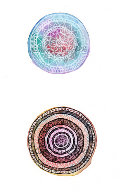 'Circles no.1′ Ink and watercolour on cartridge paper 14 x 21cm