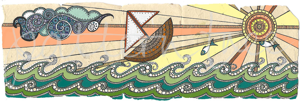 ACEO 'Seascape no.2' header. Ink on Korean Hanji handmade paper 9x30cm