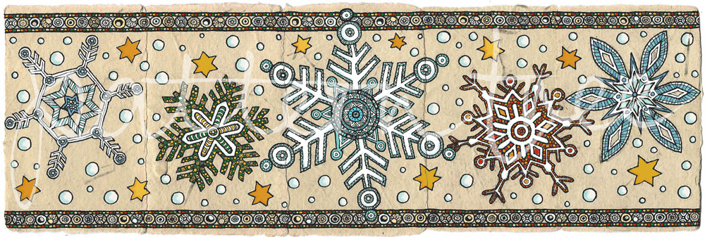 ACEO 'Festive no.2' header. Ink on Korean Hanji handmade paper 9x30cm