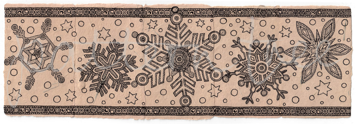 ACEO 'Festive' header. Ink on Korean Hanji handmade paper 9x30cm