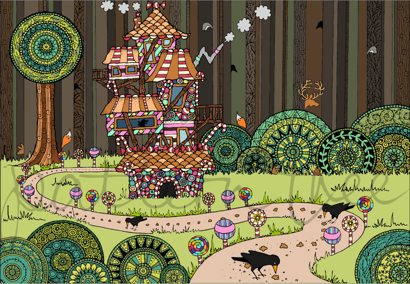 'Hansel and Gretel' Ink on Watercolour Paper and Digital 21x29cm