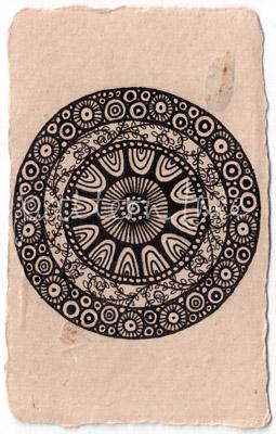 ACEO 'Anemone' Ink on Korean Hanji handmade paper 9x6cm