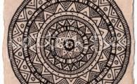 ACEO 'Aztec' Ink on Korean Hanji handmade paper 9x6cm