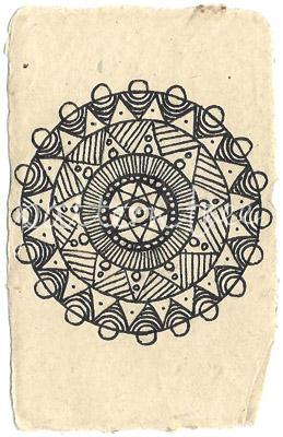 ACEO 'Circle no.1' Ink on Korean Hanji handmade paper 9x6cm