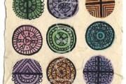 ACEO 'Circles' Ink and watercolour on Korean Hanji handmade paper 9x6cm