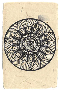 ACEO 'Circus' Ink on Korean Hanji handmade paper 9x6cm
