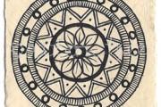 ACEO 'Crown' Ink on Korean Hanji handmade paper 9x6cm
