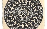 ACEO 'Organic' Ink on Korean Hanji handmade paper 9x6cm