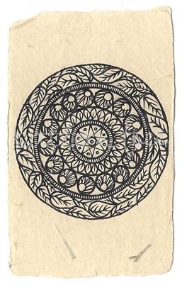 ACEO 'Organic no.2' Ink on Korean Hanji handmade paper 9x6cm