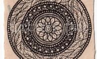 ACEO 'Organic no.3' Ink on Korean Hanji handmade paper 9x6cm