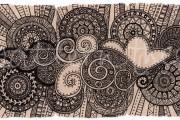 ACEO 'Cloud Triptych' Ink on Korean Hanji handmade paper 9x18cm