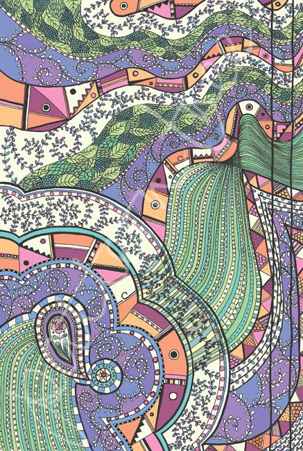 'Doodle pastel' Original ink on paper 20 x 29cm. Digital illustration.