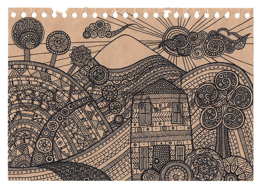 'Child's Landscape' Ink on brown notebook page