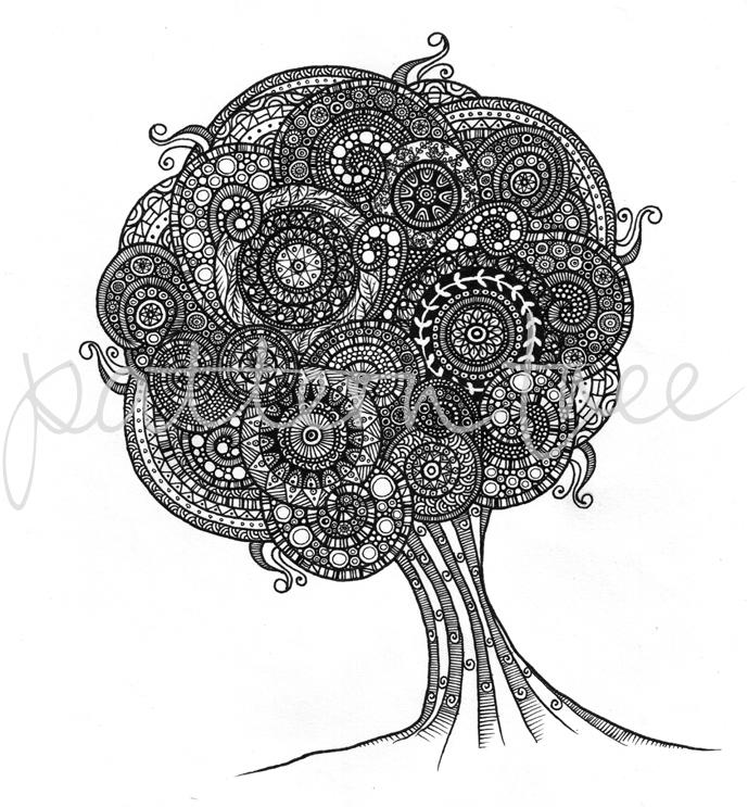 'The Pattern Tree' Ink on cartridge paper 21 x 28cm