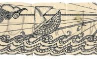 ACEO 'Seascape' header. Ink on Korean Hanji handmade paper 9x30cm