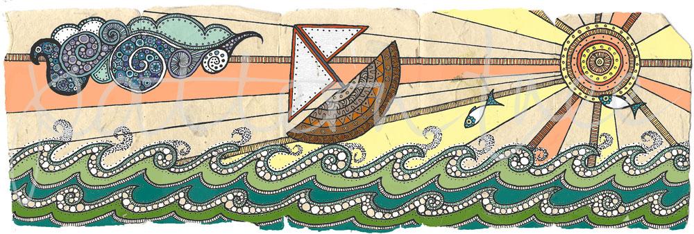 ACEO 'Seascape no.2' header. Ink on Korean Hanji handmade paper 9x30cm