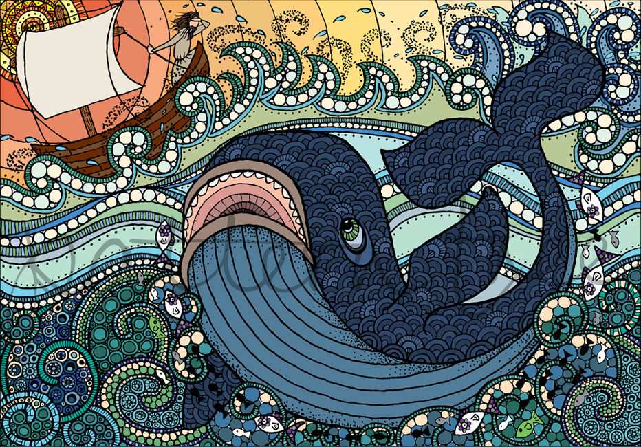 'Jonah and the Whale' Ink on Watercolour Paper and Digital 21 x 14cm